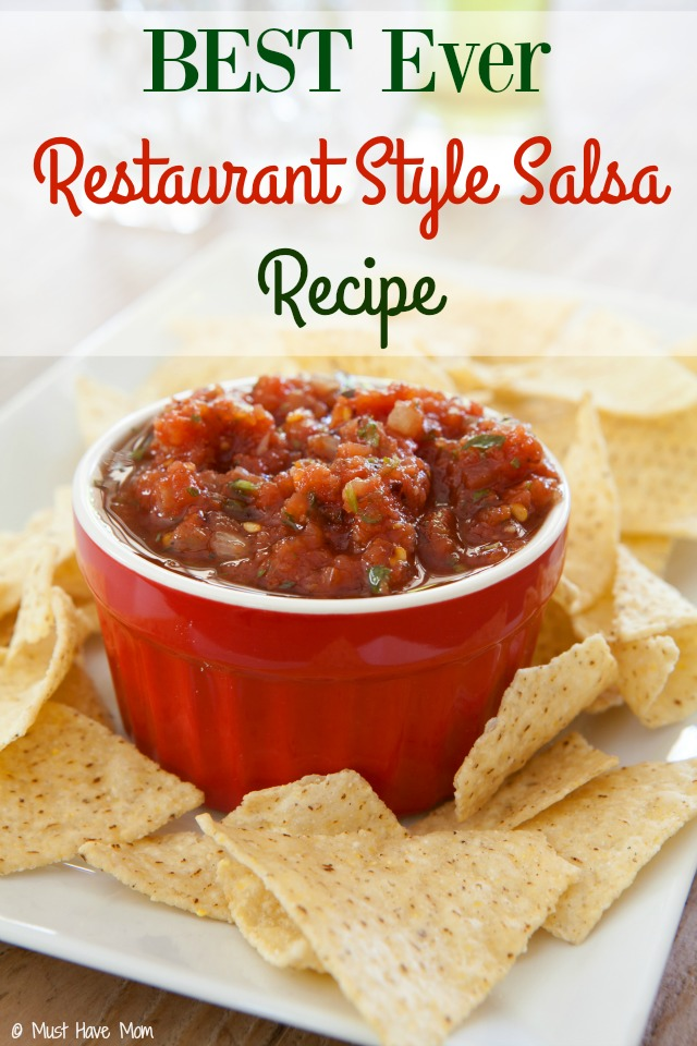 The BEST restaurant style salsa recipe! It is made with things you have on hand and it's way better than store bought salsa! Tastes like authentic mexican restaurant salsa.