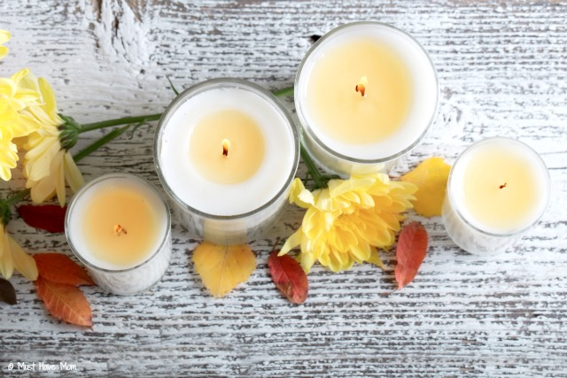 How to make your own candles tutorial. Make your own scented candles using soy wax or reuse candle wax from store bought candles! Great way to use up your melted candles.