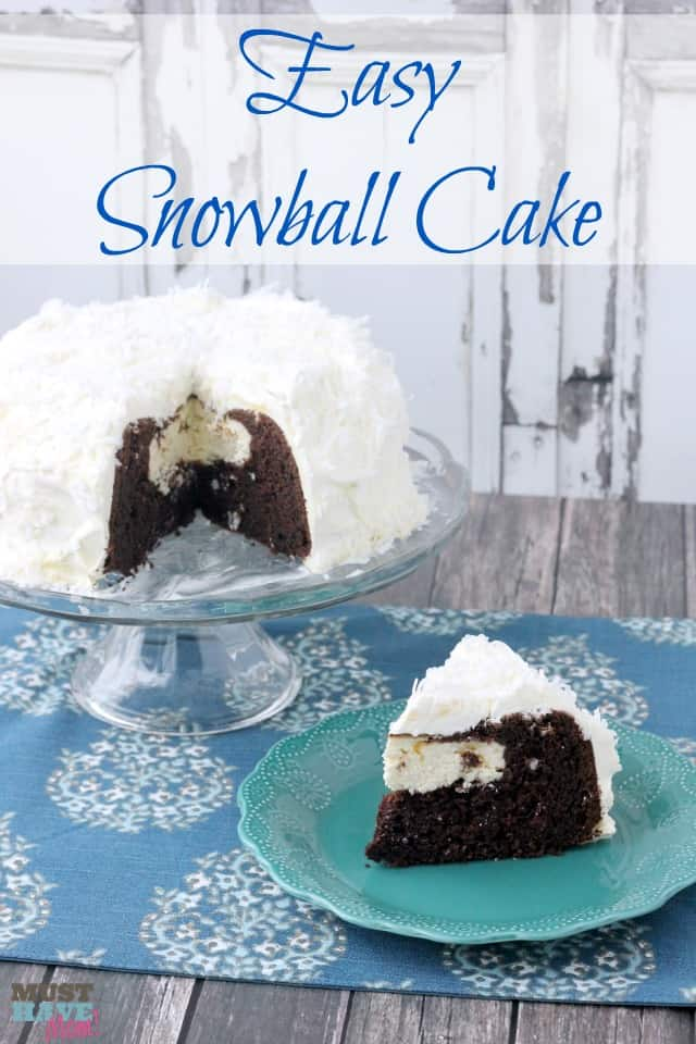 Easy Snowball Cake Recipe with a delicious cream cheese center and a Cool Whip Coconut Frosting! Easy one bowl dessert!