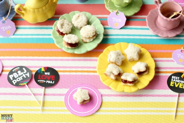 PB&J Doll Tea Party Ideas with free tea party tea bag printables and doll paper plate printables! Fun ideas for a girls tea party!