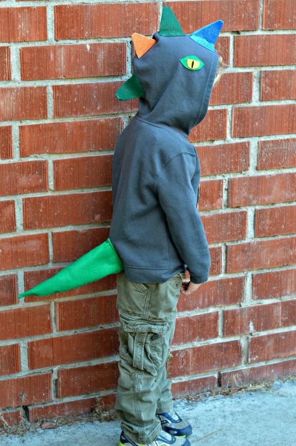 DIY Dinosaur Hoodie costume