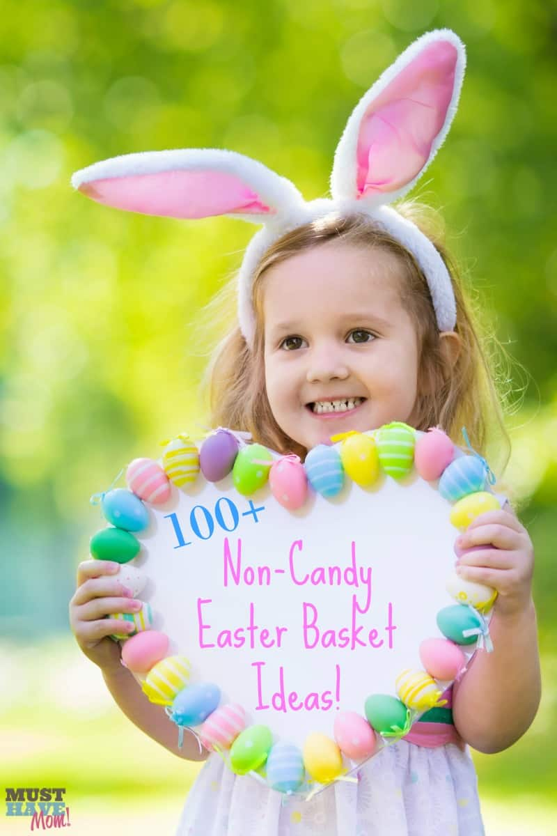 100+ Non Candy Easter Basket Ideas! Fun ideas for easter basket fillers that don't include candy! Avoid the extra sugar and use some of these ideas.