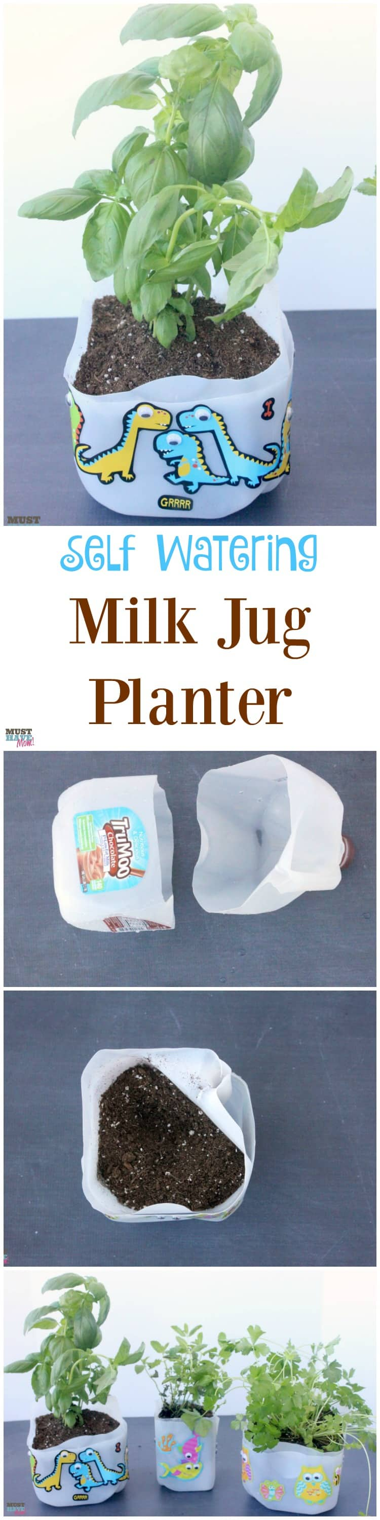 DIY Self Watering Milk Jug Planter Idea! Make your own self watering planter out of a milk jug. Upcycle and reuse your milk jug and get the kids involved! Milk jug gardening ideas!