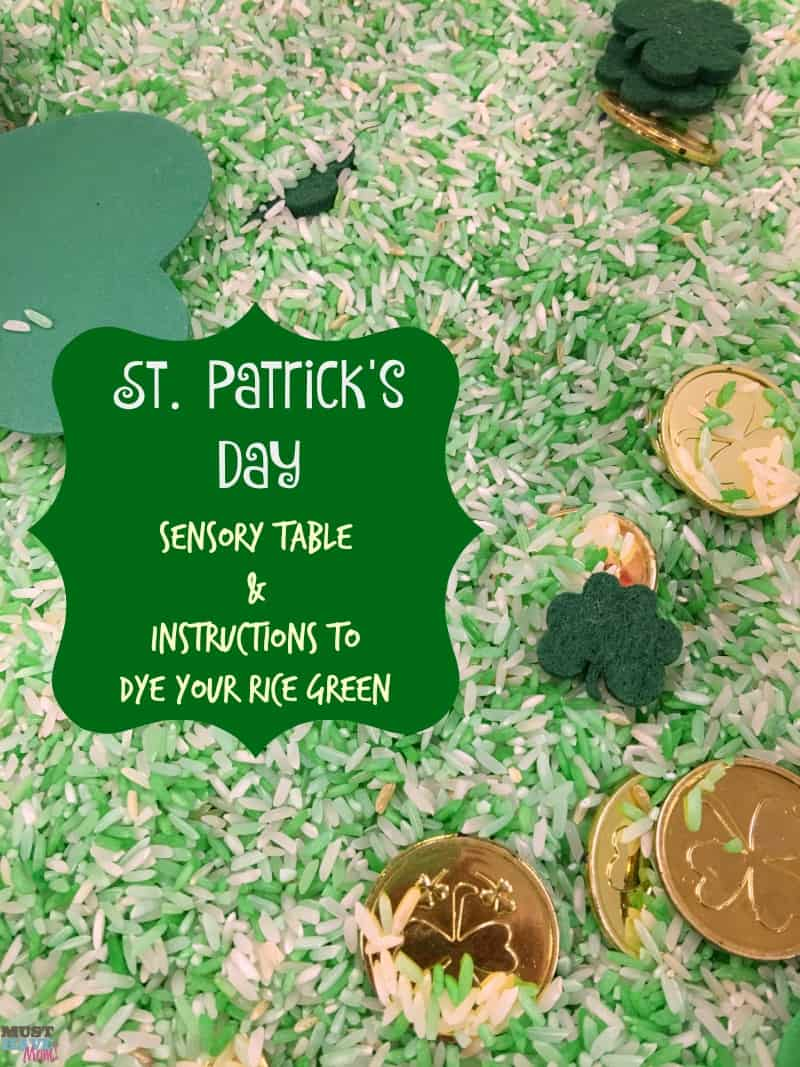St. Patrick\'s Day Sensory Rice Table + How To Dye Rice Green! - Must ...