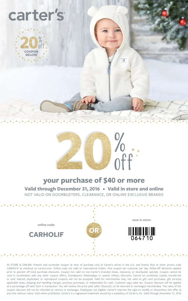 Carter's coupon code. Save 20% holiday outfits at Carters. Carters promo code