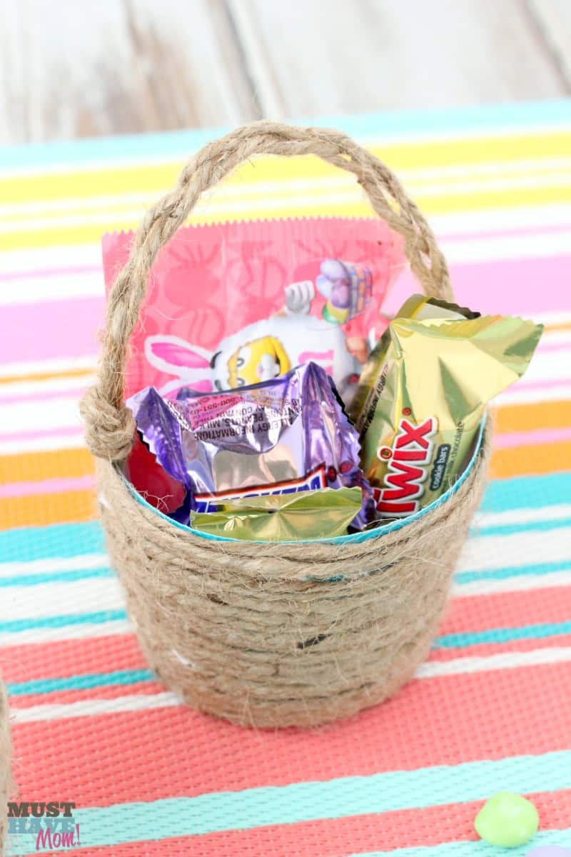 DIY Mini Easter Basket Idea Using A Plastic Cup And Jute Transform Into