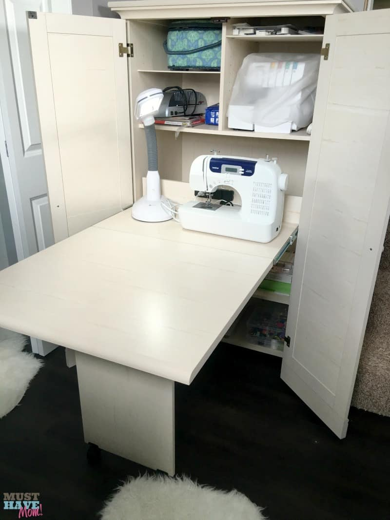 How to create an organized office small touches that make for Craft cupboard with table