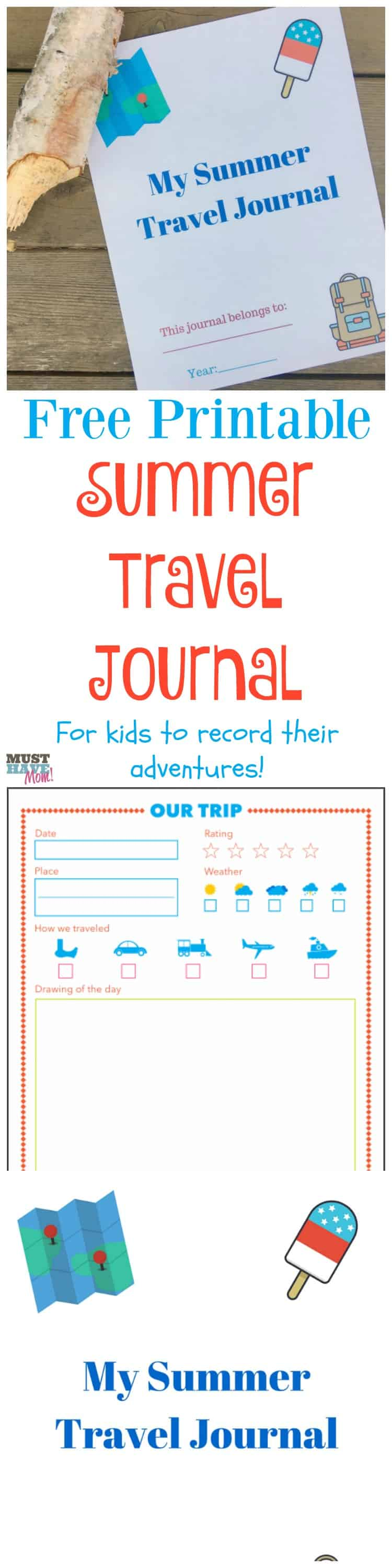 photo relating to Travel Journal Printable identify Cost-free Printable Summer months Push Magazine For Children + Push Guidelines