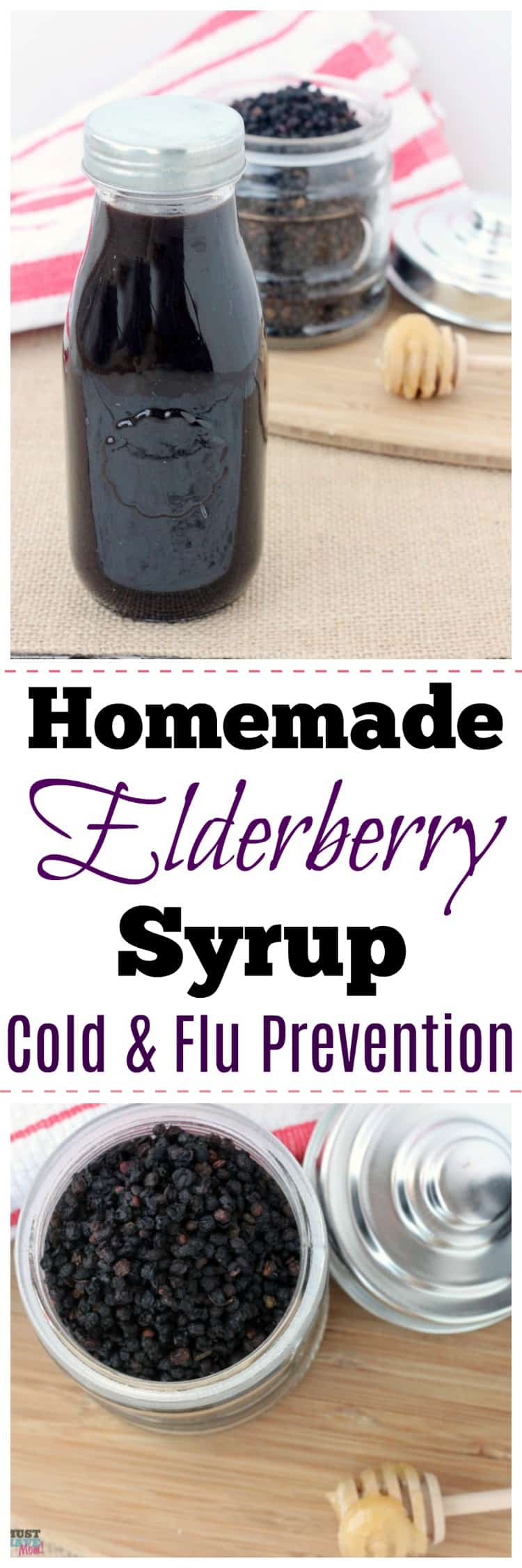 Homemade elderberry syrup for cold and flu prevention using dried elderberries. Great natural remedy.