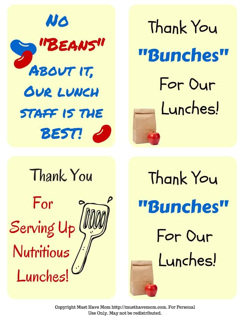 Free School Lunch Hero Day Printable Thank You Cards For Cafeteria Staff! - Must Have Mom