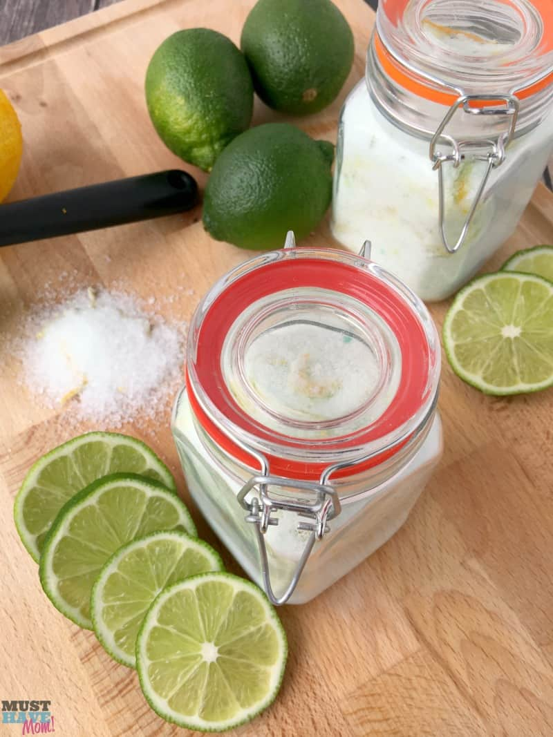 DIY Citrus mint epsom salt foot soak for tired feet! Make this homemade foot soak recipe and package in a pretty jar for a great homemade gift idea! Or make it part of a pedicure basket! Great Mother's Day gift, teacher gift idea, etc!