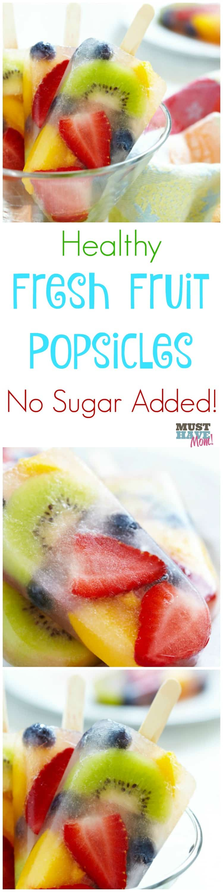 Healthy Fresh Fruit Popsicles No sugar added! Keep toddlers hydrated with these healthy real fruit pops with no added sugar. Just 2 ingredients!