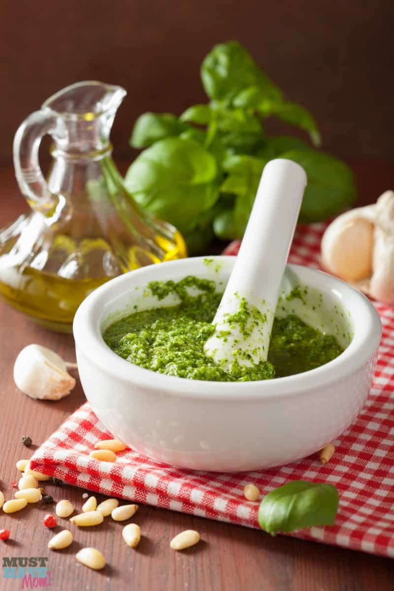 The best basil pesto recipe ever! Easy to make pesto using garden fresh basil, parmesan and garlic! So yummy! Use on pasta, spaghetti squash, bread, pizza and more!
