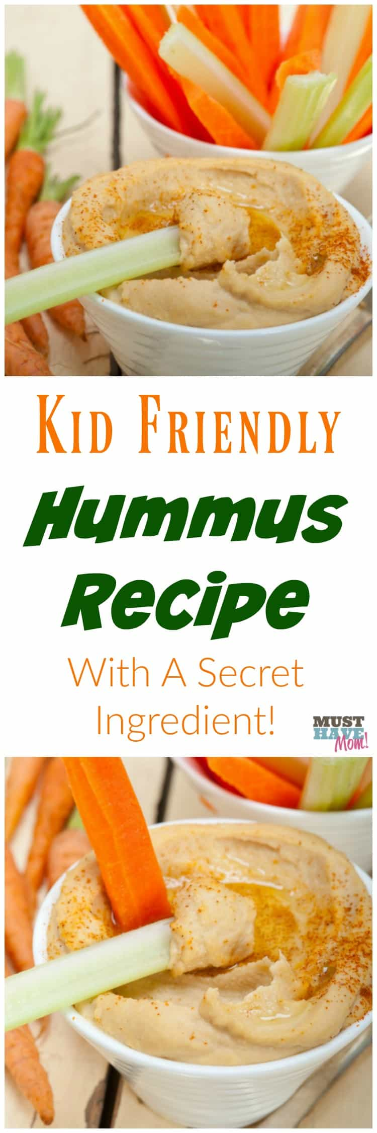 Kid Friendly Hummus Recipe With a Secret Ingredient especially for toddlers! Easy recipe that kids love. Dip carrot and celery sticks or pita bread in it! Grab the recipe and dip those garden veggies in it!