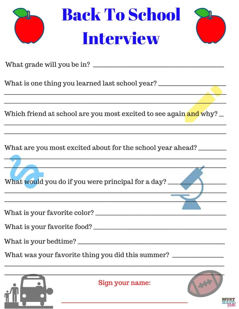 Free printable back to school interview questionnaire! Interview your kids each year before the new school year and save them! Fun back to school activity!