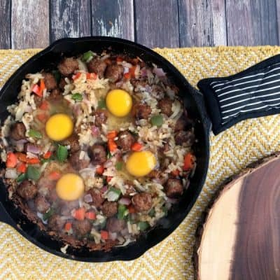 One Skillet Sausage and Egg Breakfast Hash Recipe!