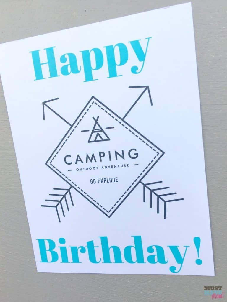 Camping birthday sign printable