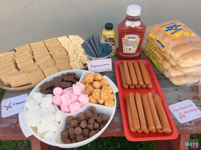 Camping themed birthday party smores table