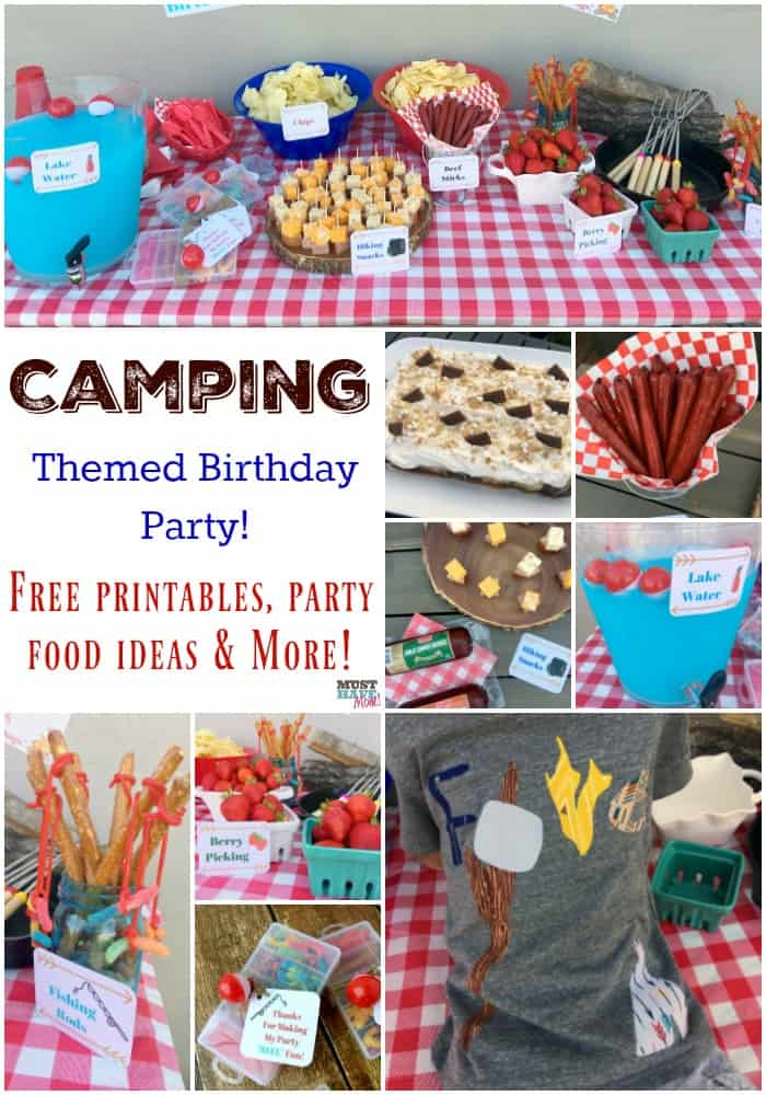 Camping theme party ideas! Fun camping birthday party ideas, camping party food ideas, free camping party printables, camping party shirt, and more! Love this camping themed birthday party!!