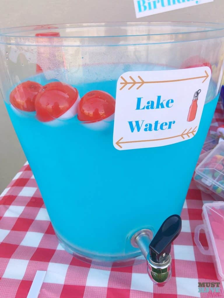 Camping themed party food ideas lake water
