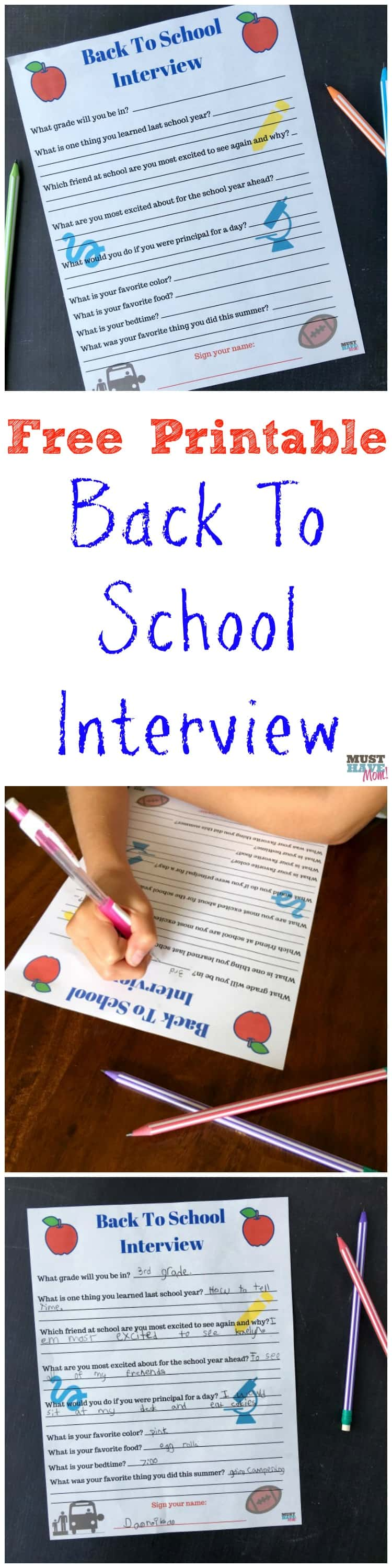 printable back to school interview to do your kids every printable back to school interview questionnaire interview your kids each year before the new