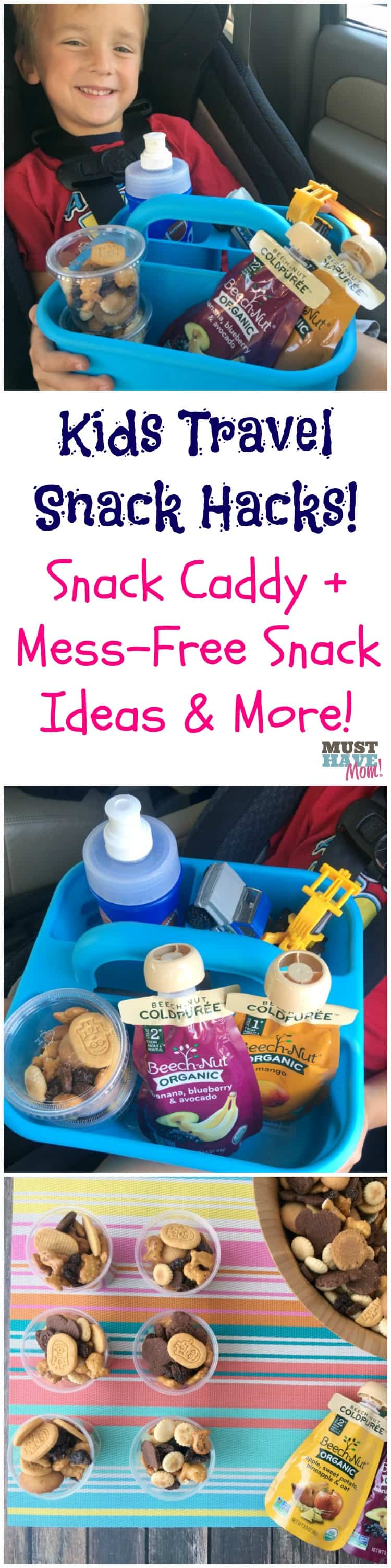 The BEST travel snack hacks for kids! Mess free snack ideas for in the car, travel snack mix recipe, and more! Lots of kids road trip tips!
