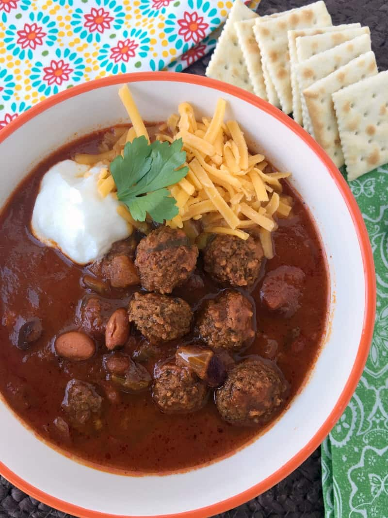 Easy Meatball Chili recipe you can make in the slow cooker or stove top! Delicious twist on regular chili! Fall recipes slow cooker chili for game day!