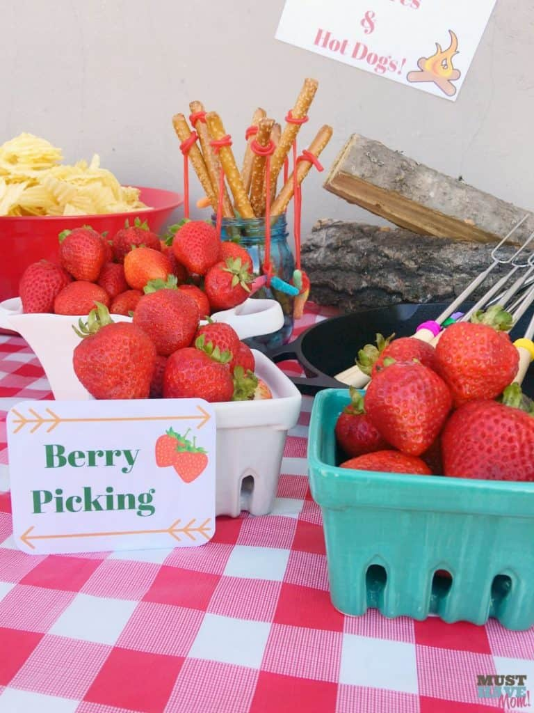 Camping Party Berry Picking Food Idea