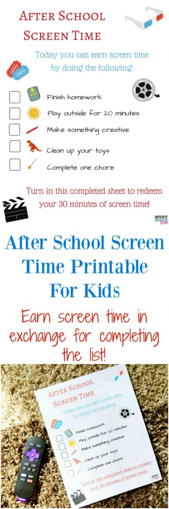 Free screen time printable for kids to earn screen time in exchange for completing the list of chores or tasks! Limit their screen time and ensure they have a good balance of after school activities.