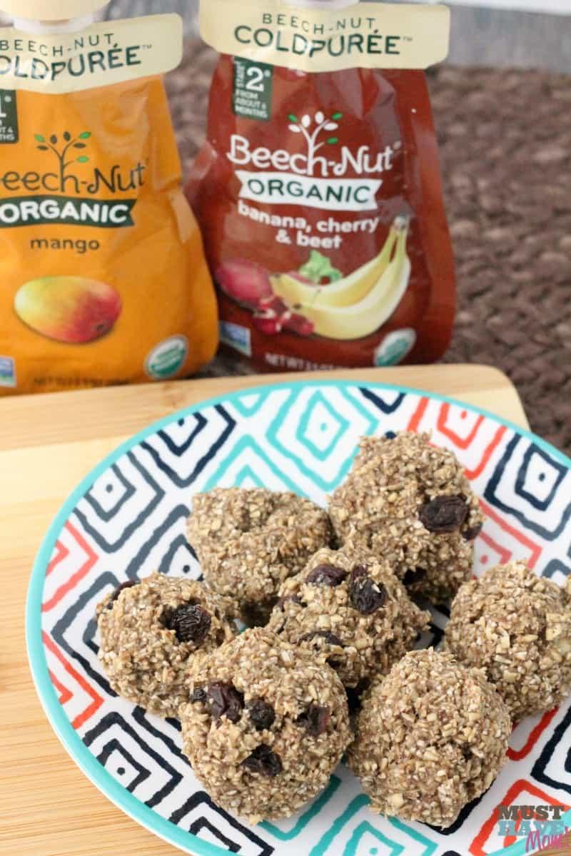 3 ingredient toddler bites recipe! Healthy alternative to cookies. Egg free, dairy free, flourless cookie alternative. Easy toddler snack idea, toddler food idea.