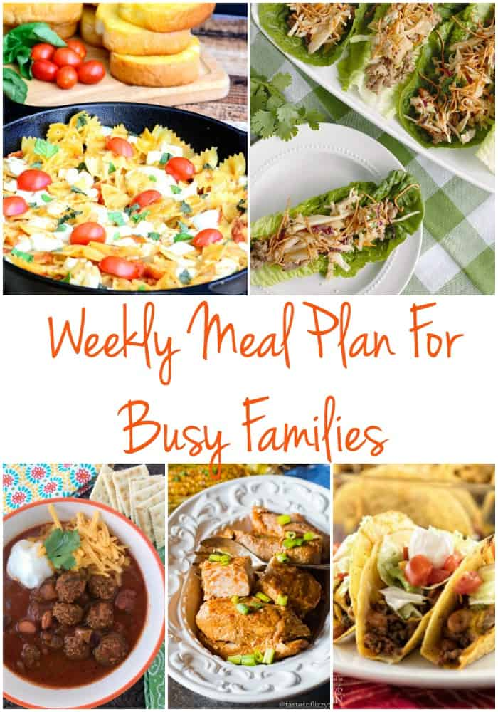 Free weekly meal plan for busy families! Love these weeknight meal ideas and she even has free weekly planner printables to plan your meals for the week. Great dinner ideas for busy families!
