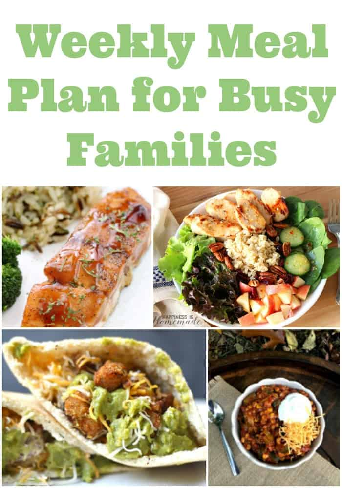 Free weekly meal plan! 7 tasty dinner ideas for busy families. Includes 7 easy dinner ideas for weeknight meals.