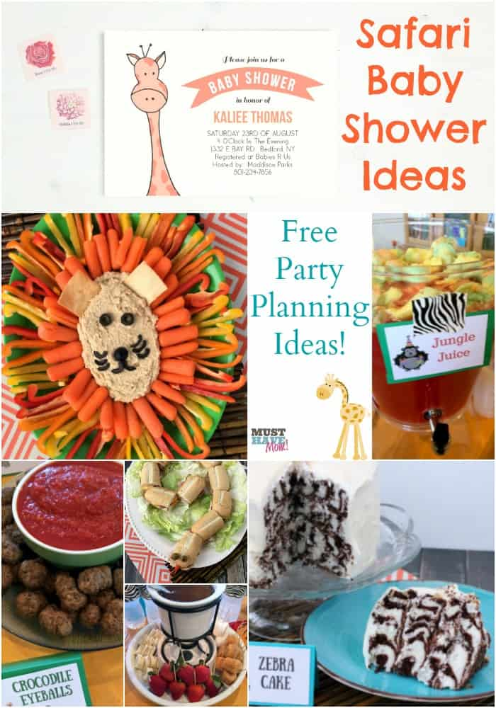 Safari baby shower ideas! Free party planning ideas with safari food, safari games and safari baby shower invitations! Great ideas and easy too!