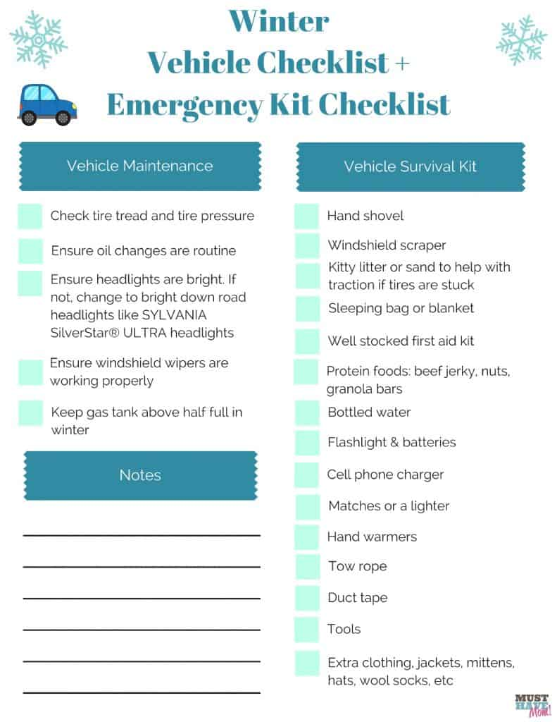Is your vehicle ready for winter? Free winter vehicle checklist and vehicle emergency kit checklist