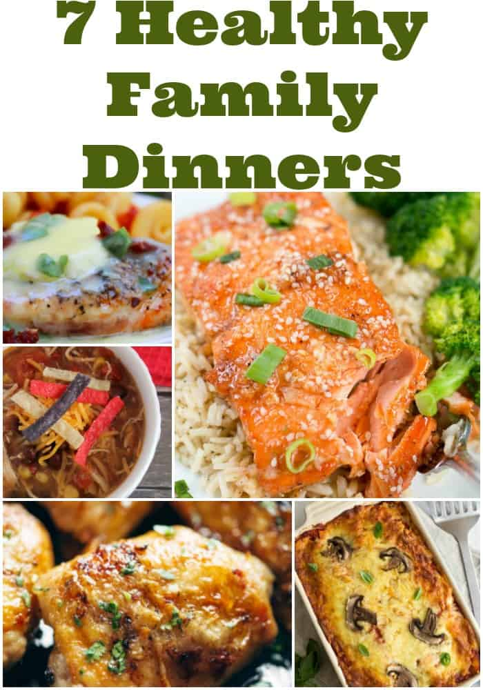 7 healthy family dinners to make weeknight meal planning quick and easy! Free meal plan and recipes. Grab these family friendly meal ideas.