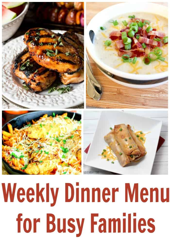 Weekly dinner menu ideas for busy families! Free meal planning for week. Easy dinner ideas for weeknight meals.