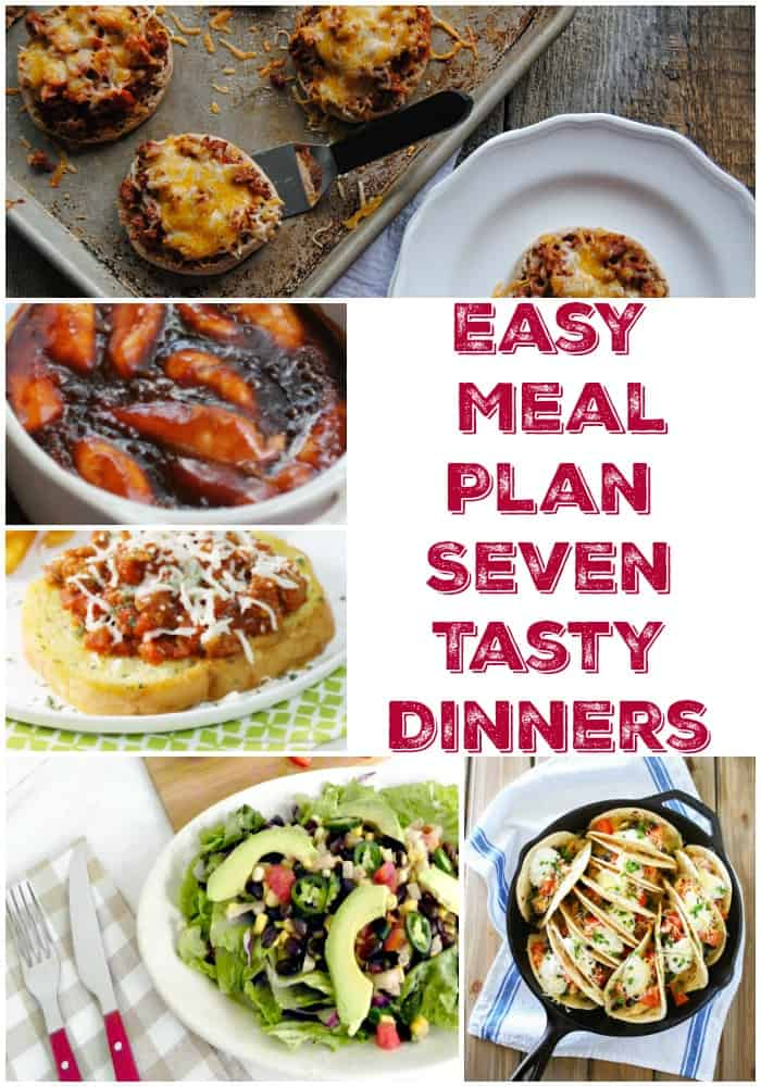Easy meal plan with 7 tasty dinner ideas for busy weeknights! Make your family meal planning a breeze with these kid friendly dinner ideas. Love easy weeknight meal ideas!