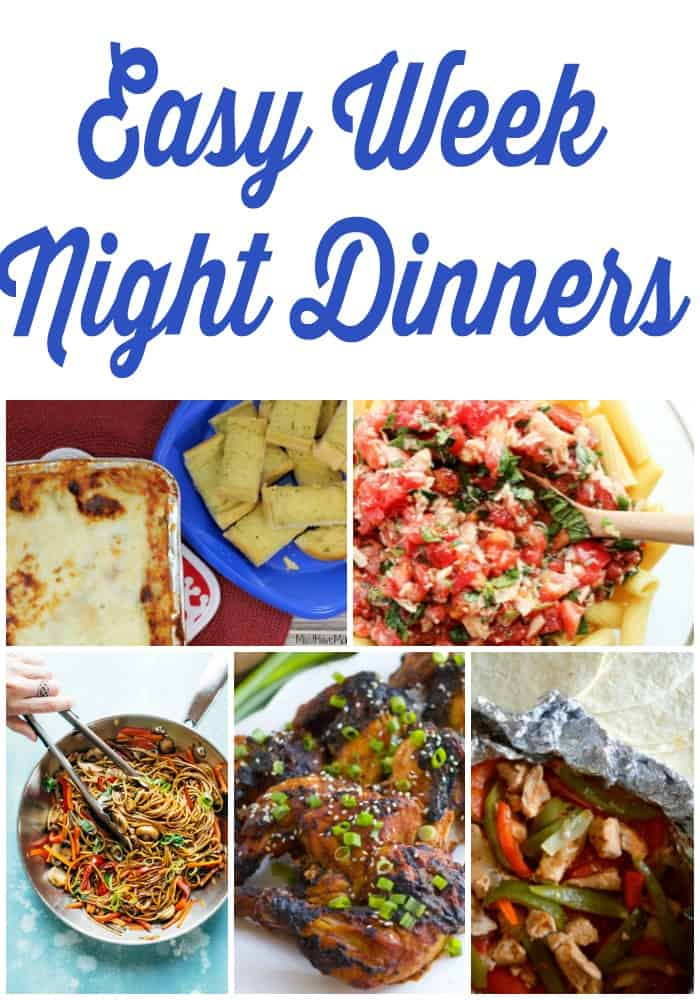 7 easy week night dinners! Make weekly meal planning easy for busy families. Grab this free, ready to go meal plan for the week!