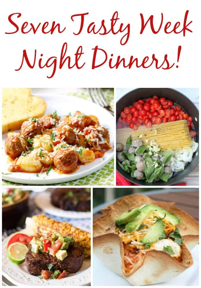 7 tasty week night dinners perfect for busy family meal ideas! Grab this free weekly meal plan every week!
