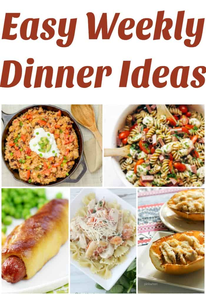 Easy weekly dinner ideas! She gives a free weekly meal plan menu every Monday! Easy weeknight dinner ideas for the busy family who needs healthy weeknight recipe inspiration!