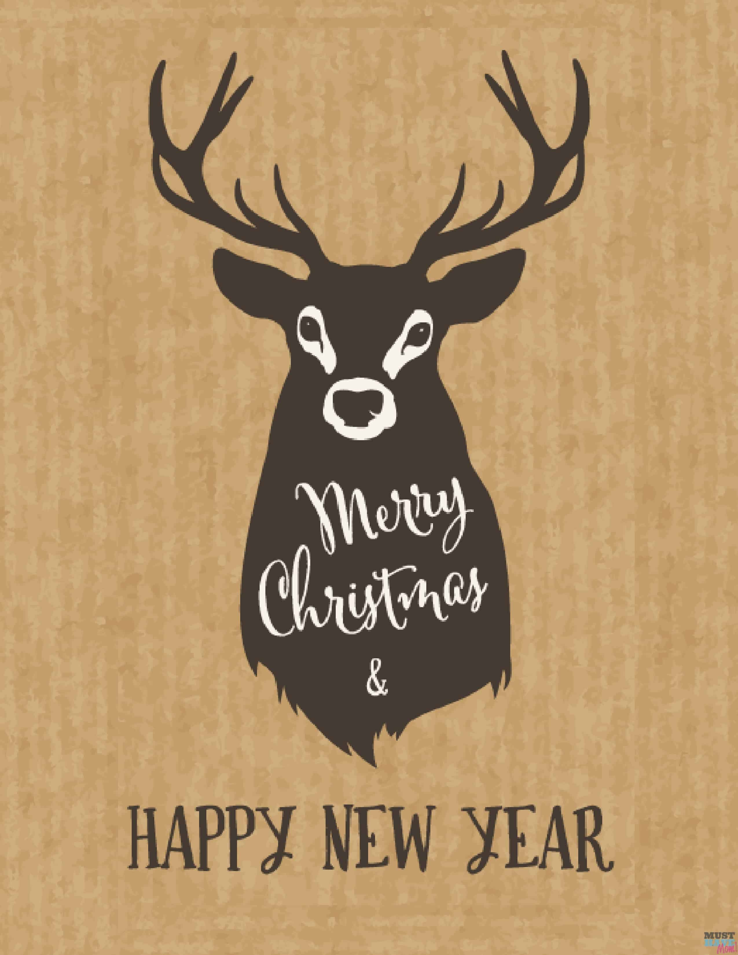 Free printable Merry Christmas & Happy New Year Deer sign. Manly Christmas decor. Rustic Christmas decor.