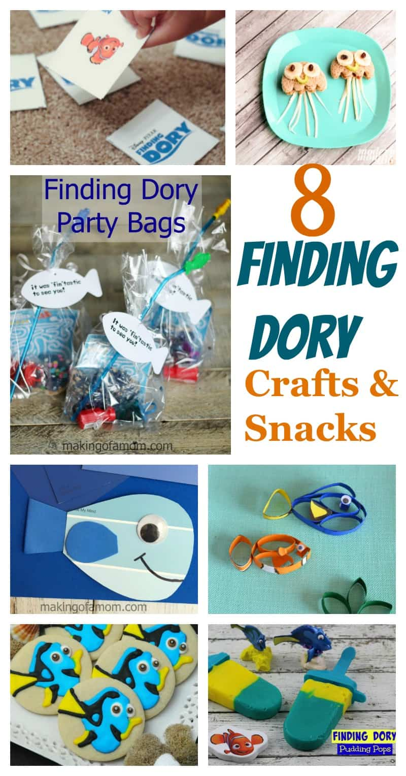 8 Finding Dory Crafts & Snacks for your preschool child! Fun kids activities and themed snack ideas.