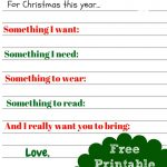 Free Printable Kids Christmas Wish List Santa Letter