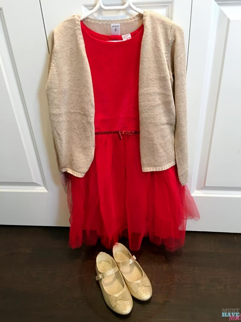 Girls Christmas outfit idea! Affordable Christmas dress with sweater and shoes. Love this ensemble.