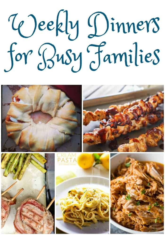 These weekly dinner ideas for busy families will help you get a satisfying dinner on the table even on busy nights. Great family dinner ideas, busy weeknight meals, weekly dinner ideas, dinner recipes!