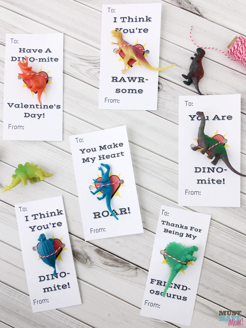 Free printable dinosaur Valentine's Day cards! Great for classroom valentine cards! Go print them FREE!