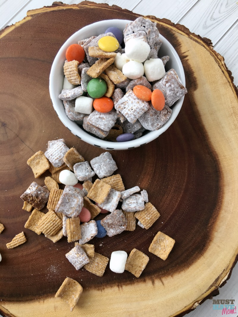 This nutella smores puppy chow is seriously better than the original puppy chow and it's a puppy chow recipe with no peanut butter! I'll warn you it's highly addictive!