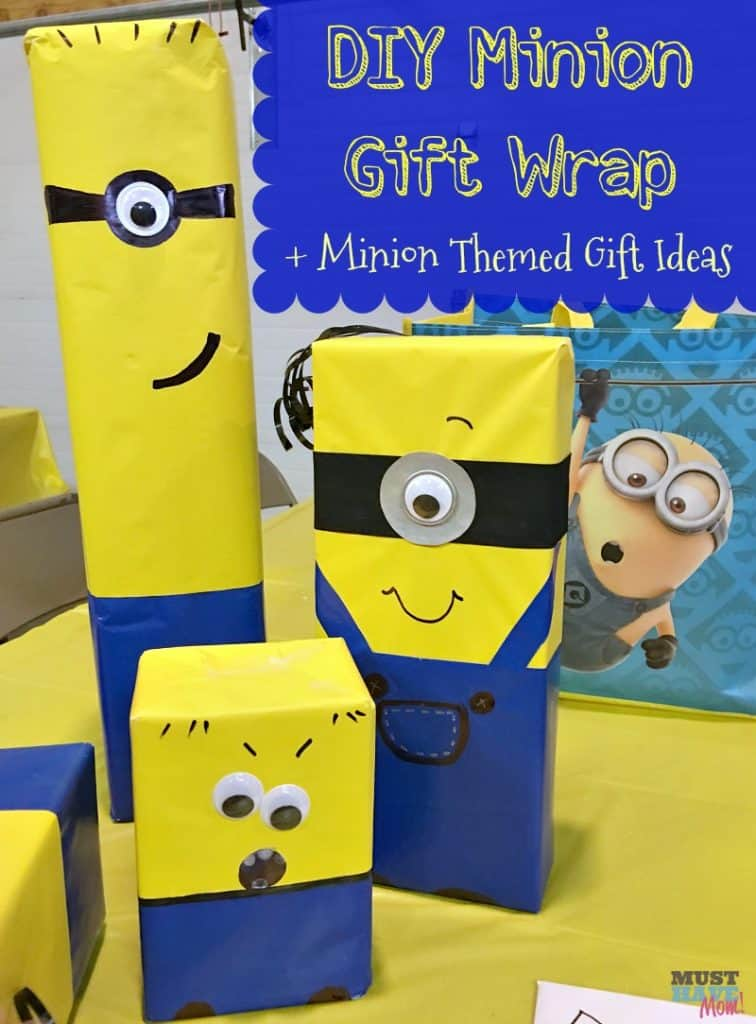 DIY Minion Gift Wrap idea with instructions to wrap any gift to look like a minion! Love this fun and easy gift wrap idea! Turn any gift into a minion! Great idea for minion birthday party.