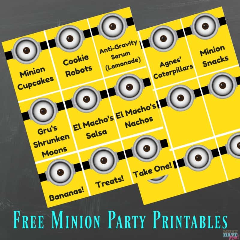 Minion birthday party food ideas with free printable minion party food signs! Grab these minion party ideas and the free party printable!
