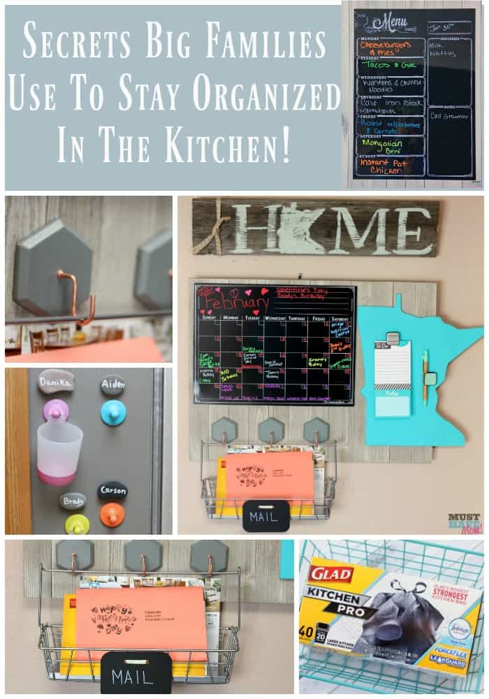 Secrets big families use to stay organized in the kitchen! These tips will help ANYONE get organized and be more efficient!
